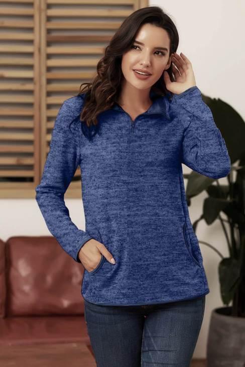 Paula Women Blue Quarter Zip Pullover Sweatshirt
