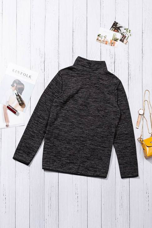 Pearl Women's Charcoal Quarter Zip Pullover Sweatshirt Black