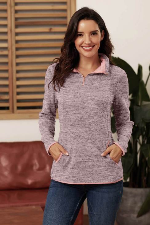 Pearl Womens Pink Quarter Zip Pullover Sweatshirt