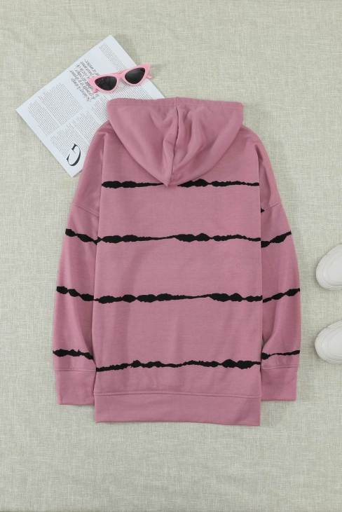 Peren Womens Drawstring Hoodie with Side Split Pink Tie-dye Striped