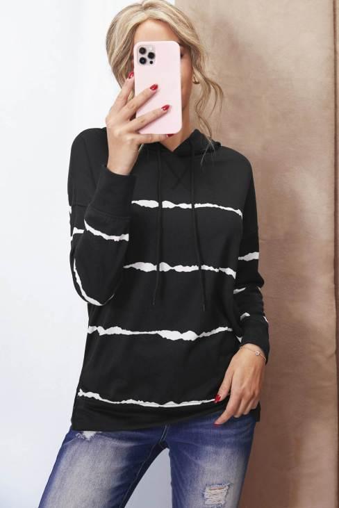Peren Womens Tie-dye Striped Drawstring Hoodie with Side Split Black