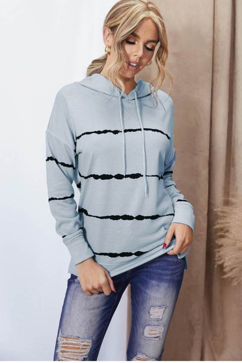 Phaedra Women's Gray Tie-dye Striped Drawstring Hoodie with Side Split