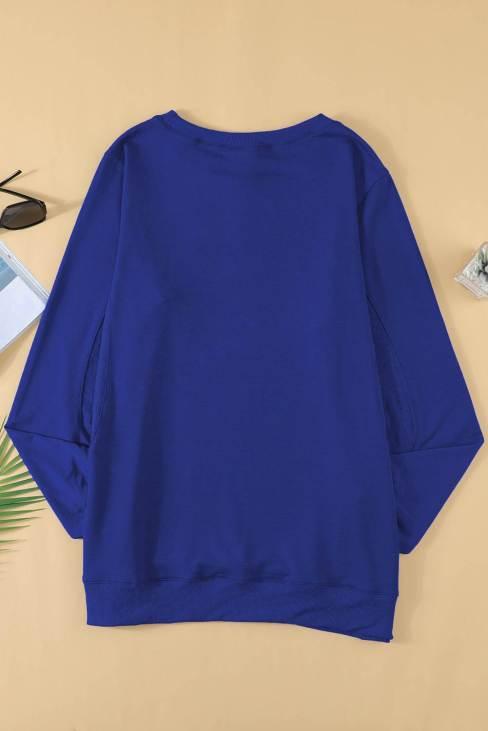 Rae Women's Blue Wash Fleece Pullover Sweatshirt