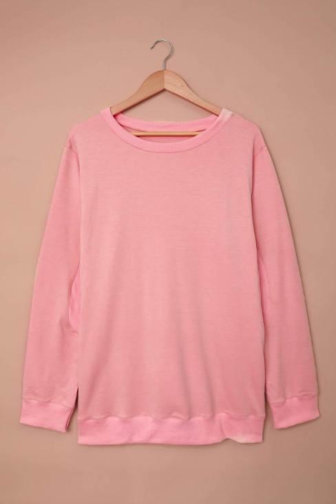 Ramya Womens Sweatshirt Pink Wash Fleece Pullover