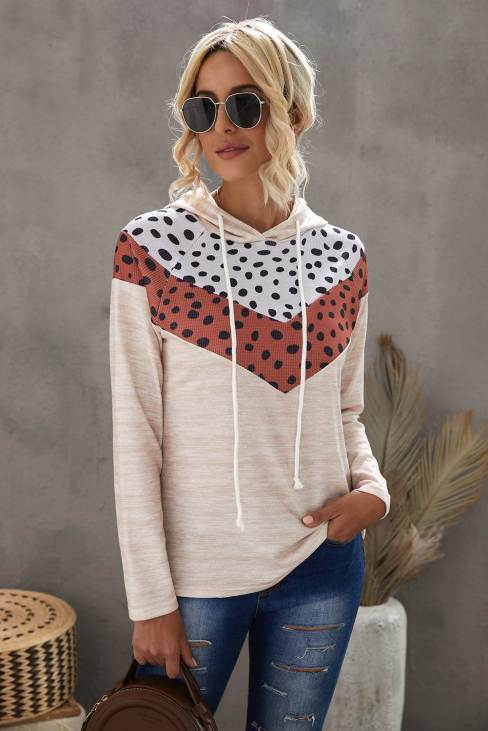 Rena Womens Cheetah Chevron Color Block Hoodie