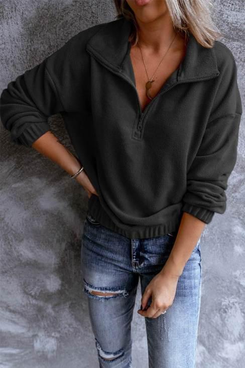 Rowena Women Zipper Fleece Pullover Sweatshirt Turn-down Collar Long Sleeve Black
