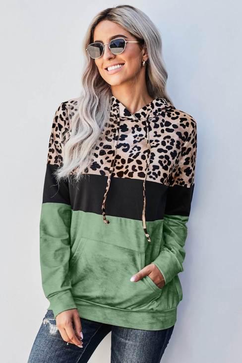 Sara Womens Tie Dye Green Colorblock Leopard Hoodie