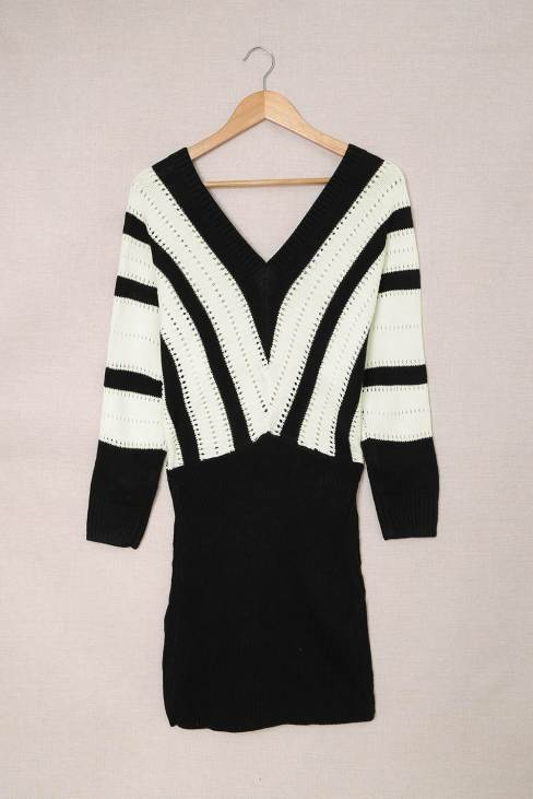 Serena Womens Hollow Out Sweater Dress Black Colorblock