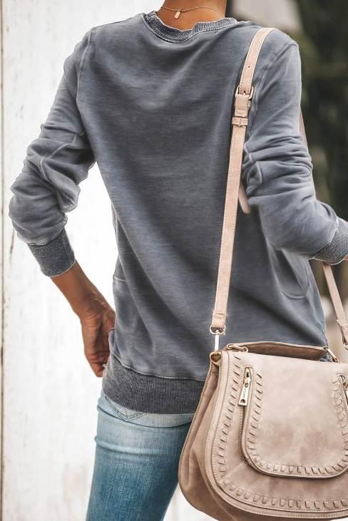Stella Womens Wash Fleece Pullover Sweatshirt Gray