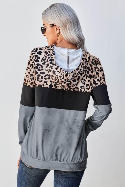 Tani Womens Leopard Gray Leopard Tie Dye Colorblock Hoodie