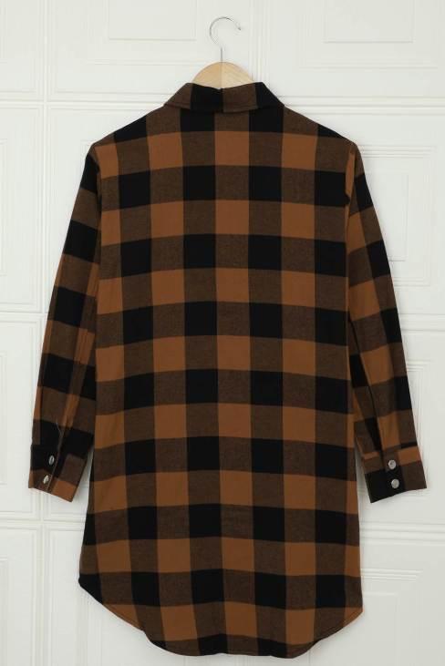 Lillian Women's Brown Turn-down Collar Plaid Shirt Coat