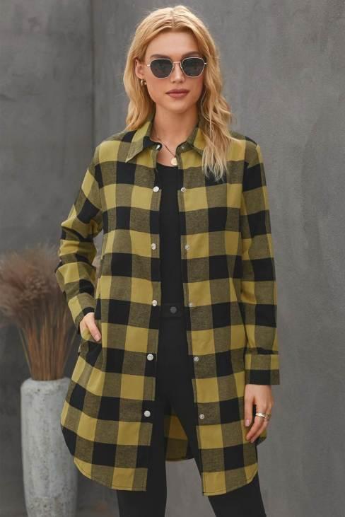 Lillian Women's Turn-down Yellow Collar Plaid Shirt Coat