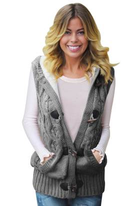 Linnea Womens Cable Knit Hooded Gray Sweater Vest