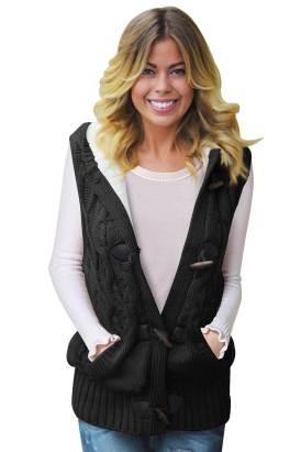 Linnea Women's Cable Knit Hooded Sweater Vest Black