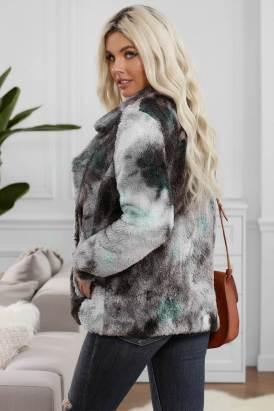 Madge Women's Tie Dye Lapel Collar Open Front Fleece Coat