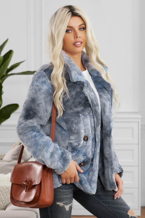 Maeve Women Tie Dye Blue Lapel Collar Open Front Fleece Coat