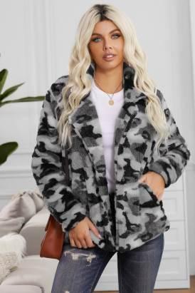 Maeve Womens Camo Lapel Collar Open Front Fleece Coat Gray