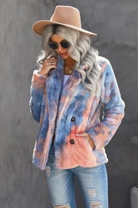 Malina Women Tie Dye Lapel Collar Open Front Fleece Coat Orange