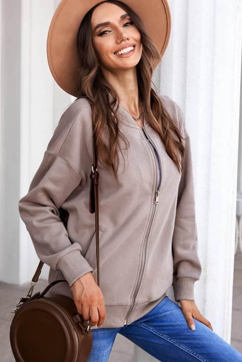 Maren Womens Zip-up Jacket with Pocket Pink