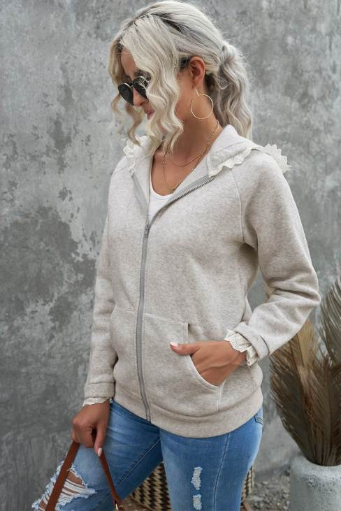 Nabila Women's Gray Zip-up Lace Trim Hooded Coat