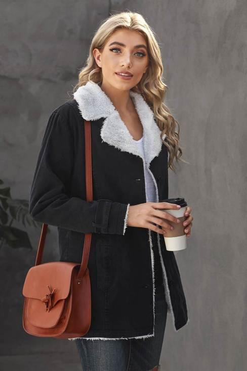 Nancy Womens Lapel Collar Button Fleece Jacket Black