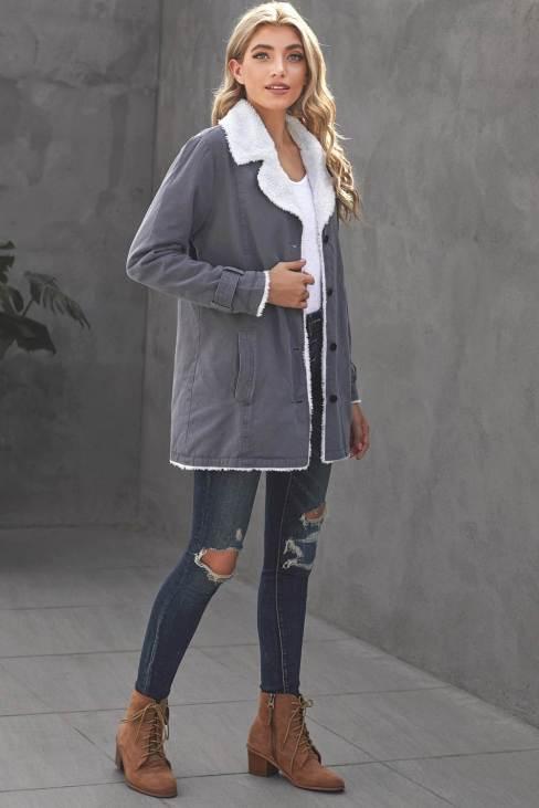 Naomi Women's Gray Lapel Collar Button Fleece Jacket