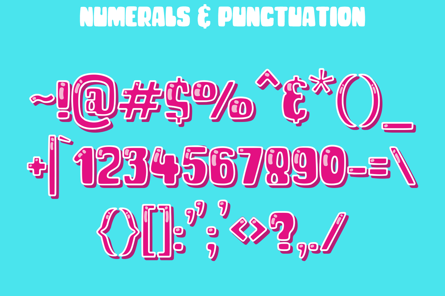 NUMERALS & PUNCTUATION CHAR SHEET