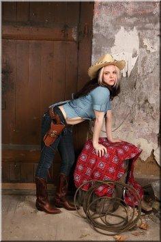 Cowgirl Hudson blue shirt basement AD-3-10_259