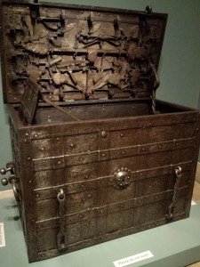 THIS TRUNK HAS NINE COMPLICATED LOCKING MECHANISMS