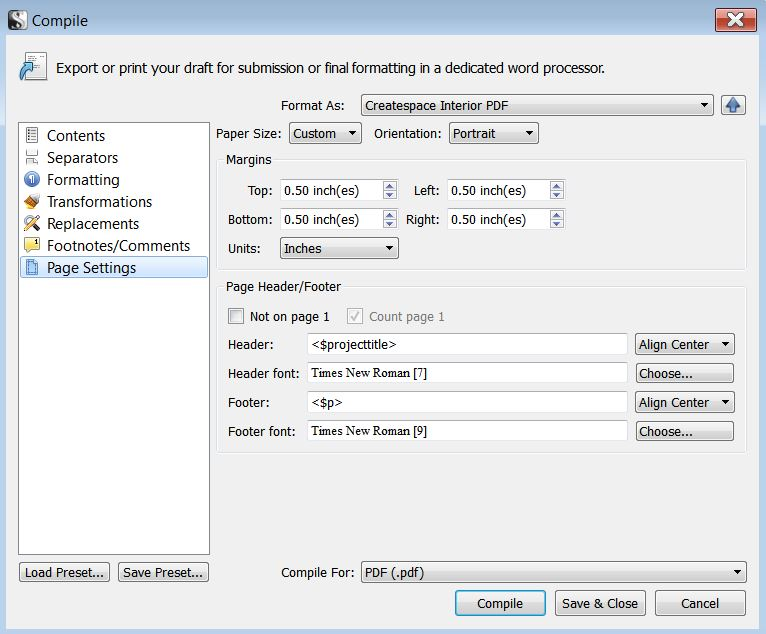 COMPILE - PAGE SETTINGS