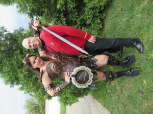Steampunk Xena and Star Trek redshirt