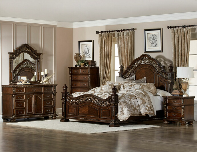 homelegance 1824 5pc 5 pc catalonia cherry finish wood ornate bedroom set