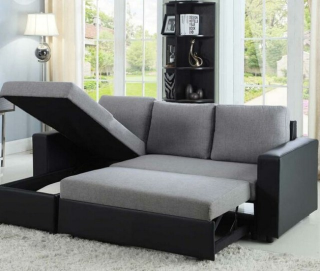 Cst503929 2 Pc Everly Collection Contemporary Style Grey Fabric Black Vinyl Upholstered Sleeper Sectional Sofa