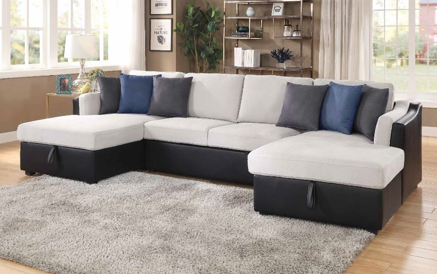acme 56015 3 pc winston porter orchard merill beige fabric black faux leather sectional sofa with double chaise