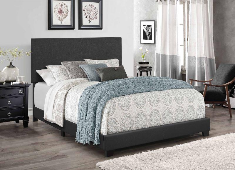 7554 home source regents dark gray linen like fabric queen bed set