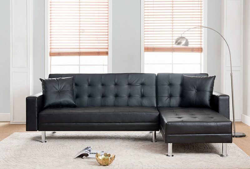 8036 bk 2 pc taylorann jett nuttall modern style black faux leather sectional sofa reversible chaise