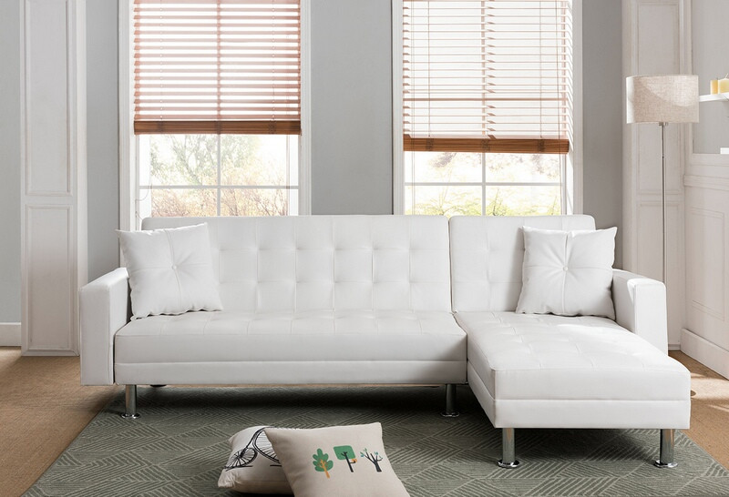 8036 wh 2 pc taylorann jett nutall modern style white faux leather sectional sofa reversible chaise
