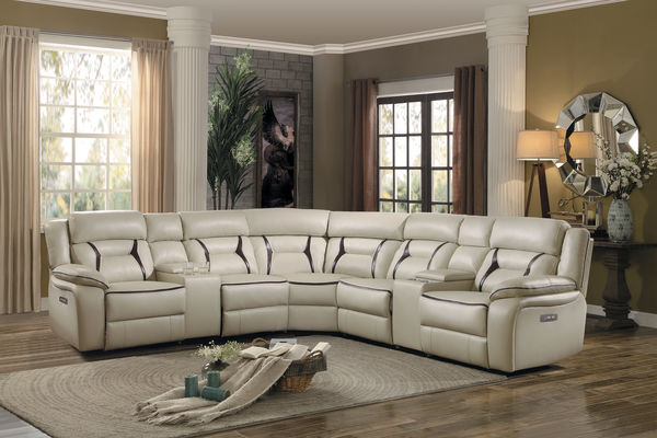 homelegance 8229bg 7pc 7 pc amite beige leather gel match sectional sofa with power recliners