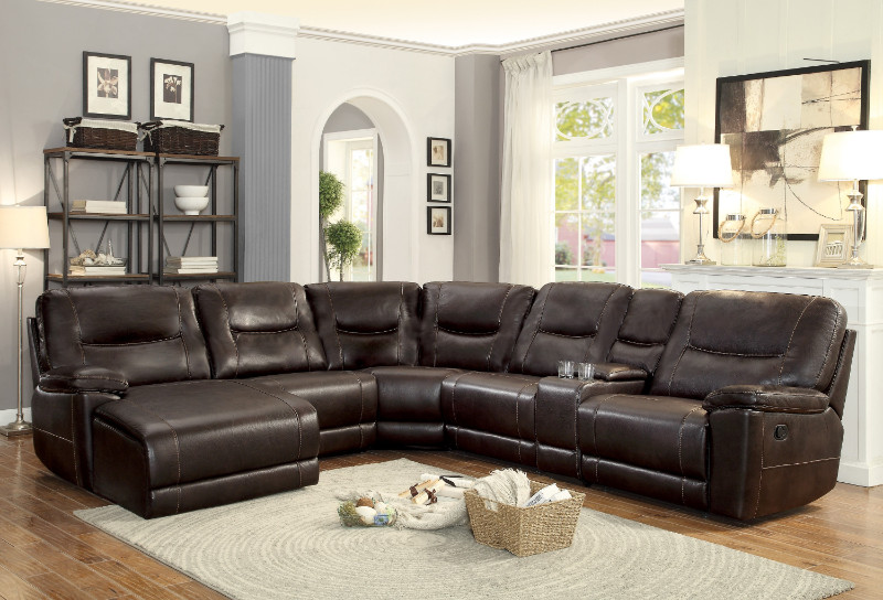 homelegance 8490 6lcrr 6 pc columbus dark brown leather gel match sectional sofa with chaise and recliners