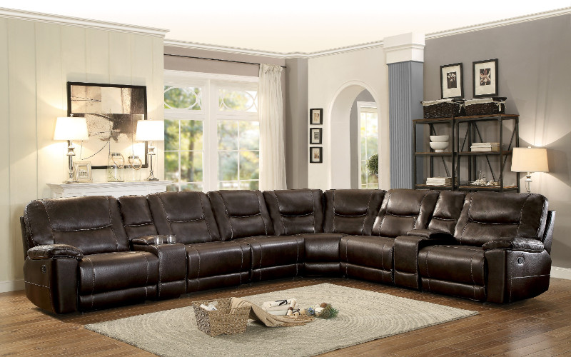 homelegance 8490 8lrrr 8 pc columbus dark brown leather gel match sectional sofa with recliners and consoles