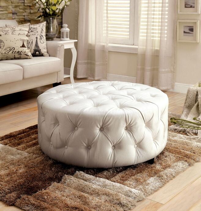 cm ac6289wh latoya white bonded leather tufted round ottoman foot stool
