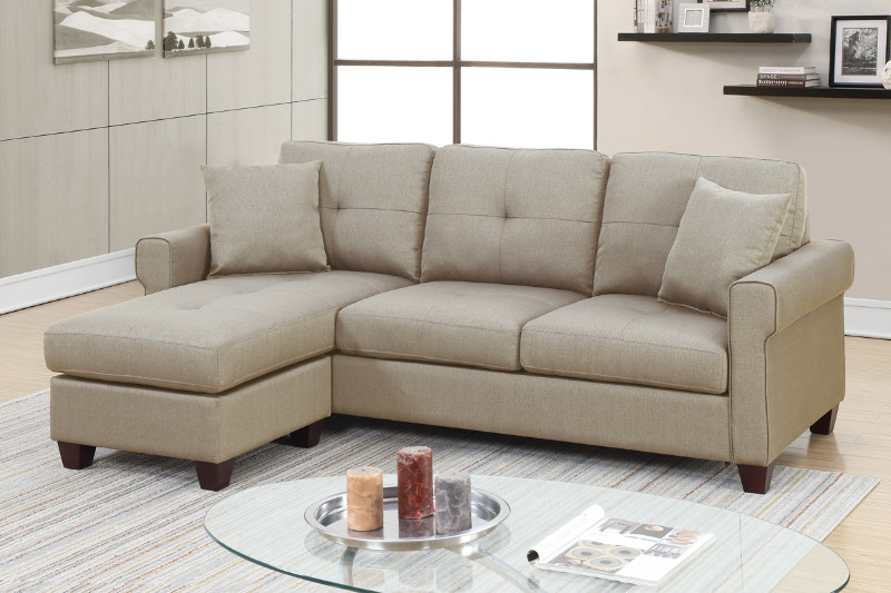 poundex f6572 2 pc leta beige glossy polyfiber fabric apartment size sectional sofa reversible chaise