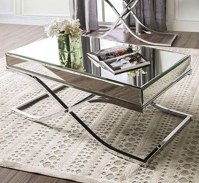 cm4230crm c sundance chrome metal and beveled mirror finish coffee table