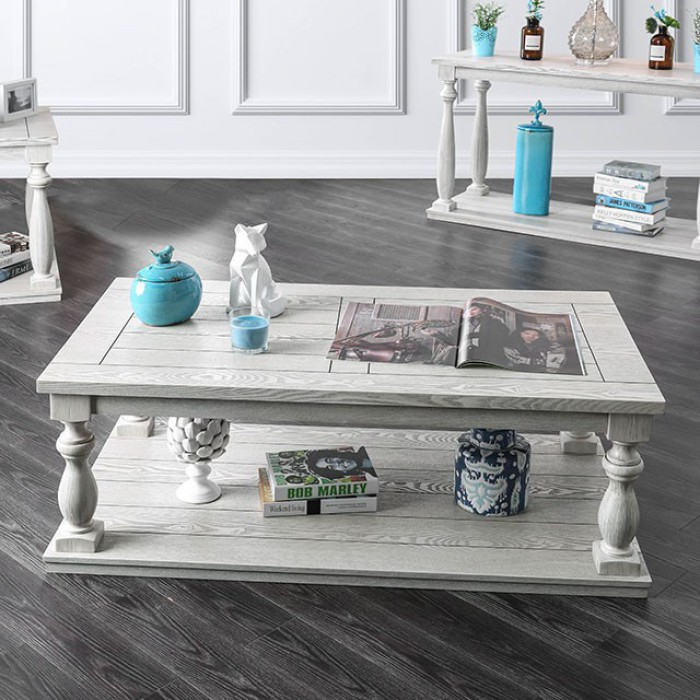 cm4520c arlington antique white finish wood rustic style coffee table