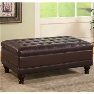 501041 red barrel studio bowyar dark brown faux leather storage ottoman with tufted seat and wood legs