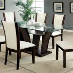 Cm3710t Wh 7pc 7 Pc Latitude Run Uptown Manhattan I Dark Cherry Finish Wood Dining Table Set White Chairs