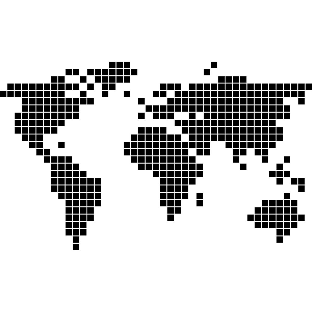 sticker carte du monde en 2d