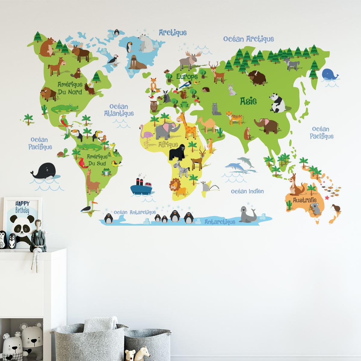 wall decal children s world map