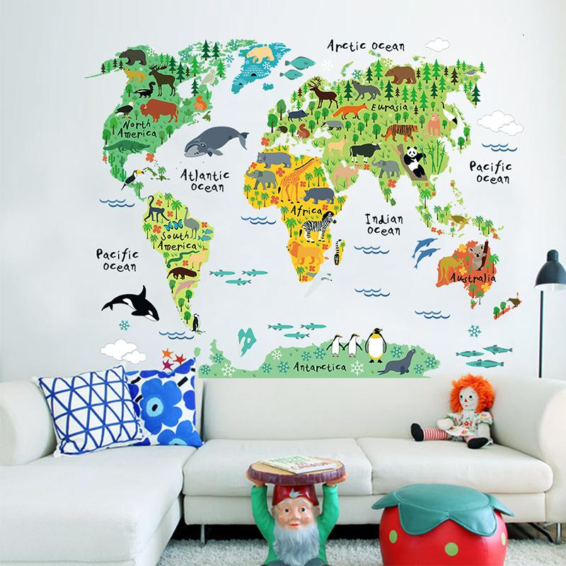 sticker carte du monde pour enfants animaux du monde