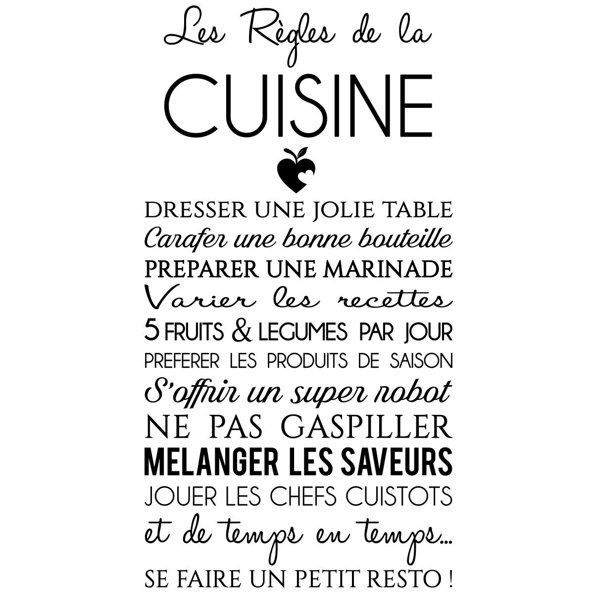 Sticker Citation Les Rgles De La Cuisine Stickers
